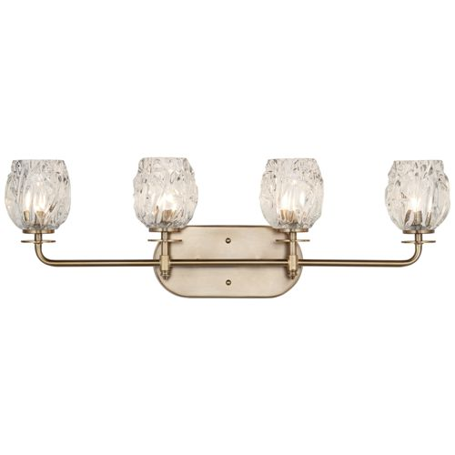 "Possini Euro Tulip Glass 28 1/2""W Brass 4-Light Bath Light"