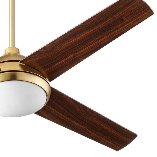 "52"" Quorum Quest Aged Brass LED Ceiling Fan"
