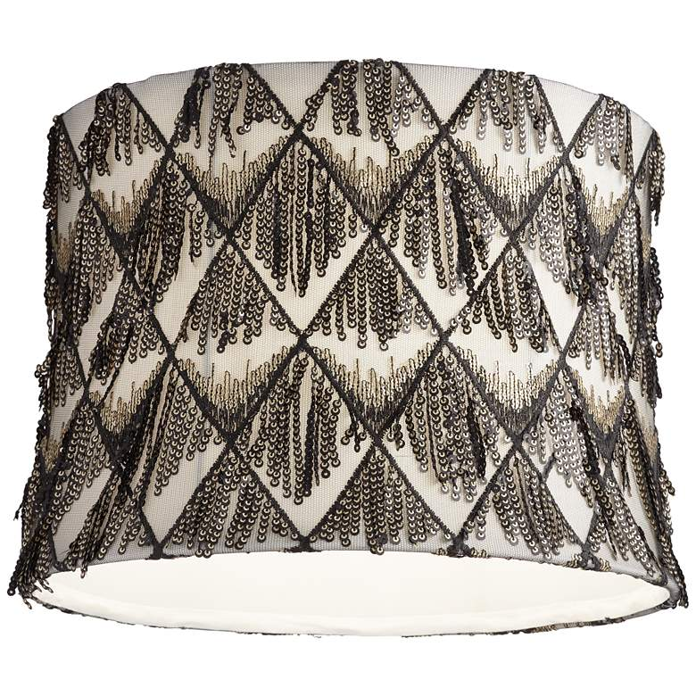 Black and Cream Sequin Drum Lamp Shade 13x14x10 (Spider) more views