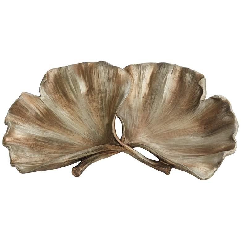 Matte Copper Ginkgo Leaves Plate more views