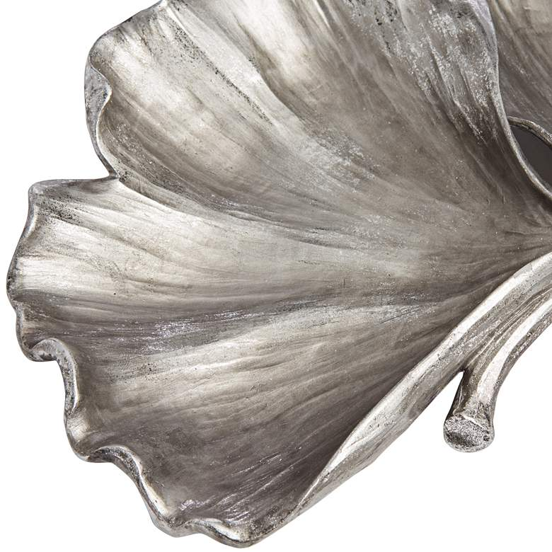 Matte Silver Ginkgo Leaves Plate more views