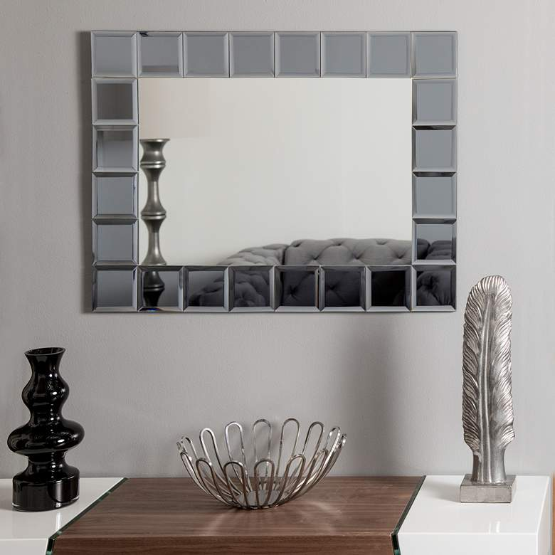 "SilverLake Gray 23 1/2"" x 31 1/2"" Frameless Wall Mirror more views"