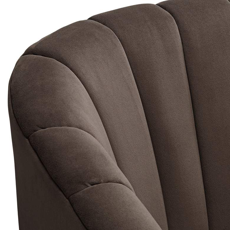 Daphne Chocolate Channel Tufted Swivel Chair more views