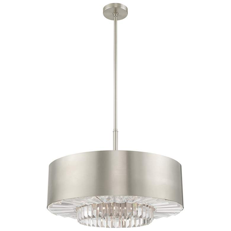 "Madison 24"" Wide Brushed Nickel Drum Pendant Light more views"