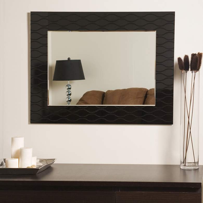 "Strands Black 23 1/2"" x 31 1/2"" Frameless Wall Mirror more views"