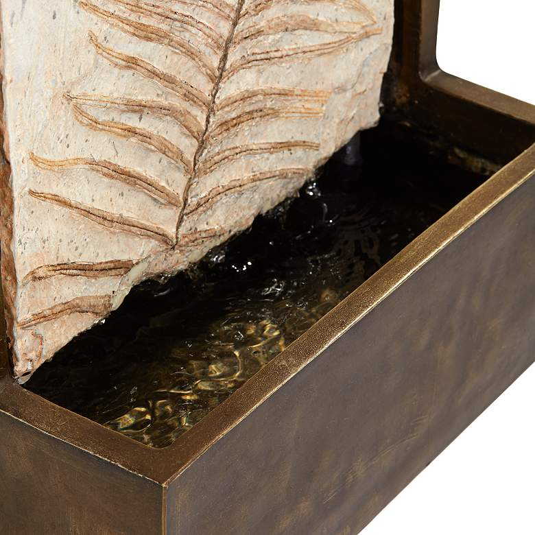 "Hayat 23"" High Bronze Leaf Wall Fountain more views"