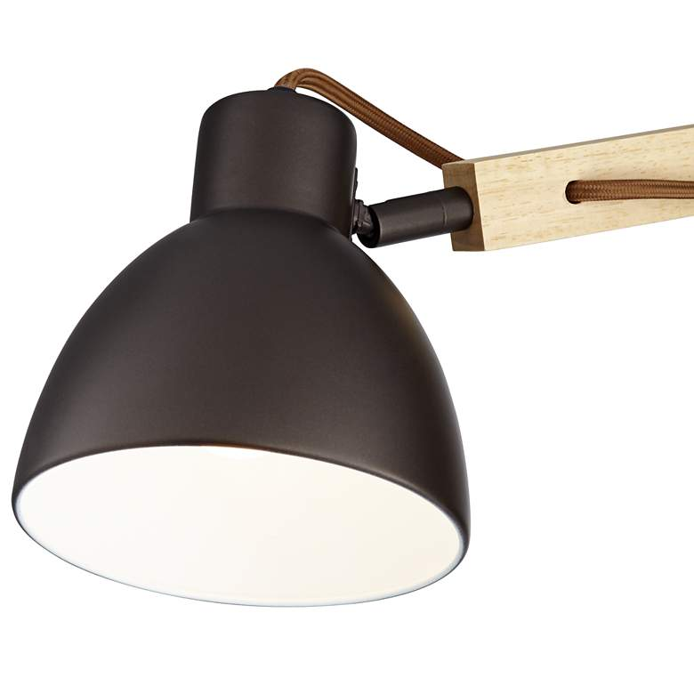Euless Bronze and Wood Industrial Plug-In Wall Lamp more views