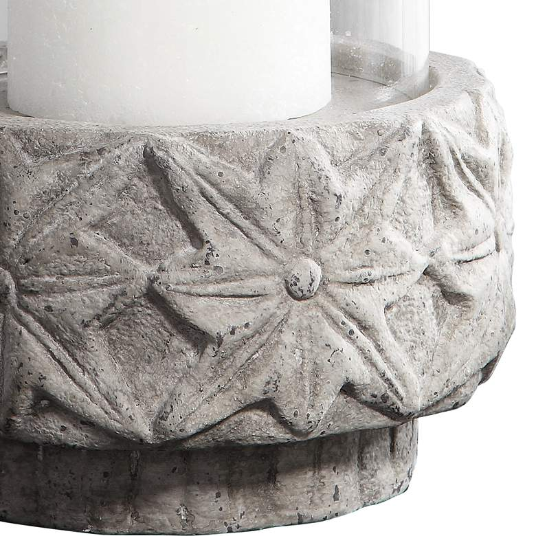 "Capistrano 18"" High Gray Concrete Candle Holder by Uttermost more views"