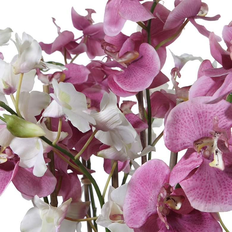 "Nydia Mauve Pink and Cream Orchid 28""H Faux Flowers in Urn more views"