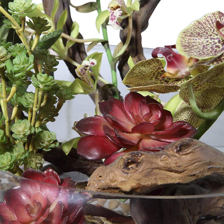 "Hala Red Orchid and Green Succulent 22""W Faux Flower in Bowl more views"