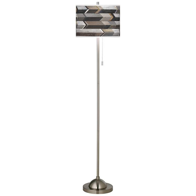 Woodwork Arrows Brushed Nickel Pull Chain Floor Lamp more views