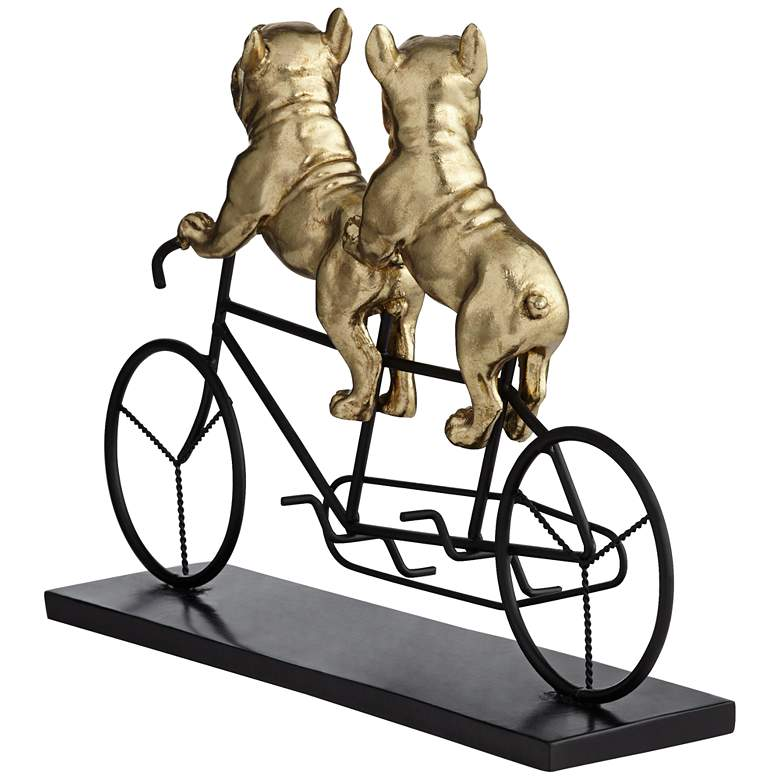 "Bulldogs on Bicycle 15 3/4"" Wide Gold Sculpture more views"