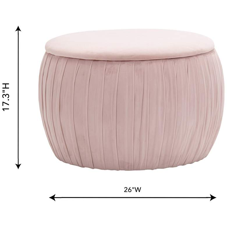 Fleur Blush Pleated Velvet Round Storage Ottoman more views