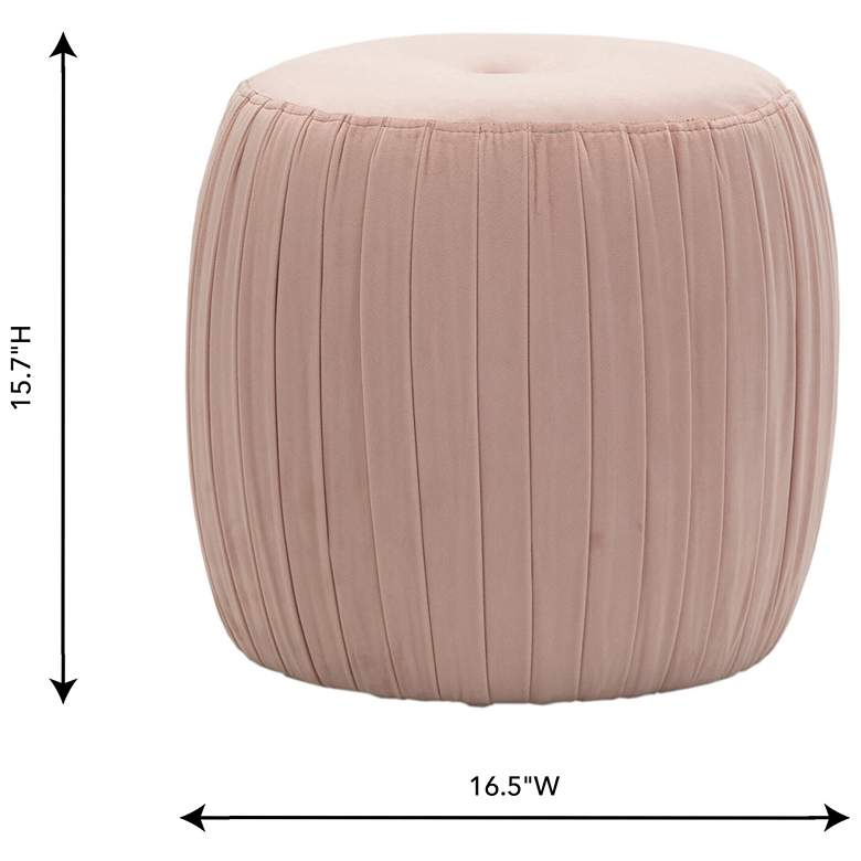 Sommer Blush Button-Tufted Pleated Velvet Drum Ottoman more views