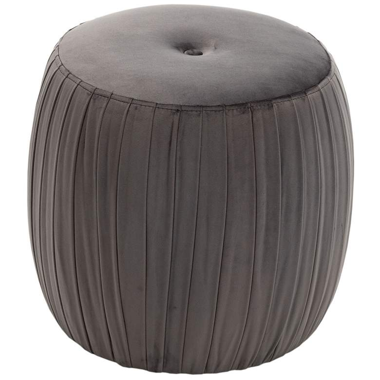 Sommer Gray Button-Tufted Pleated Velvet Drum Ottoman more views