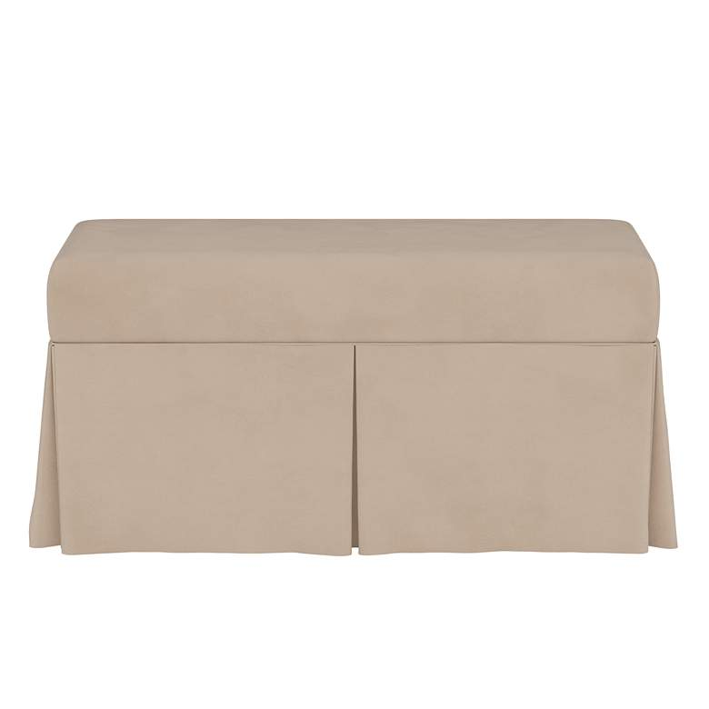 Tristan Velvet Pearl Skirted Storage Bench more views