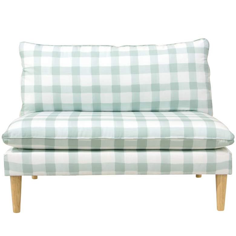 San Simeon Buffalo Square Mint Armless Loveseat more views