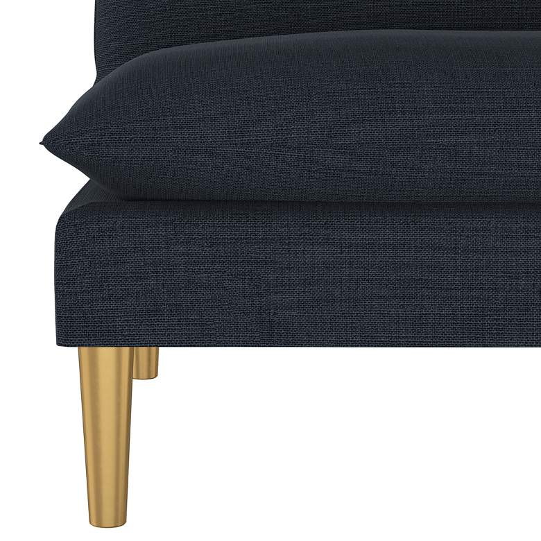 San Simeon Linen Navy Fabric Armless Loveseat more views