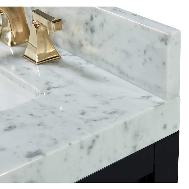 "Elizabeth 48""W Onyx Black White Marble Single Sink Vanity more views"