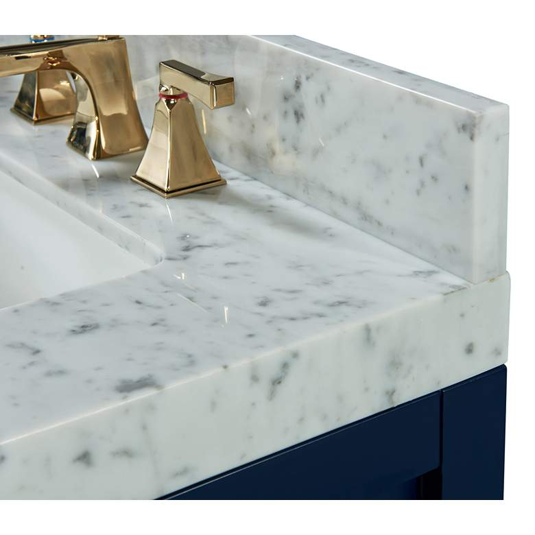 "Elizabeth 48""W Heritage Blue White Marble Single Sink Vanity more views"