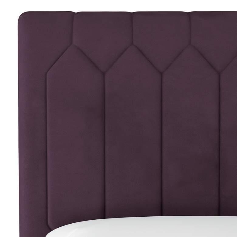 Monterra Velvet Aubergine Fabric Upholstered Full Headboard more views