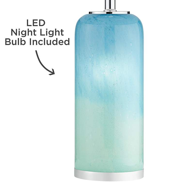 Nimbus Blue Art Glass Accent Table Lamp with Night Light more views