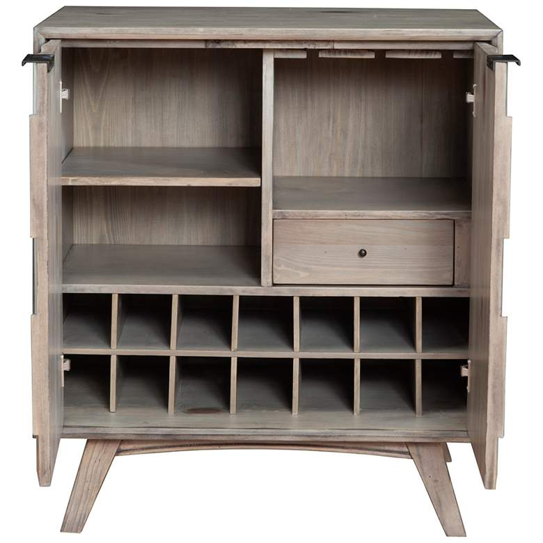 "Shimmer 32"" Wide Antique Gray 2-Door Wood Bar Cabinet more views"