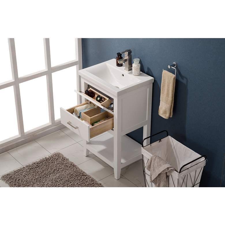 "Cara 20"" Wide 2-Drawer Porcelain White Single Sink Vanity more views"
