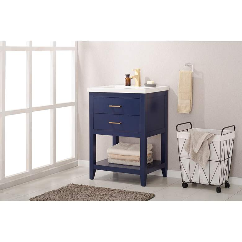 "Cara 24"" Wide 2-Drawer Porcelain Blue Single Sink Vanity more views"