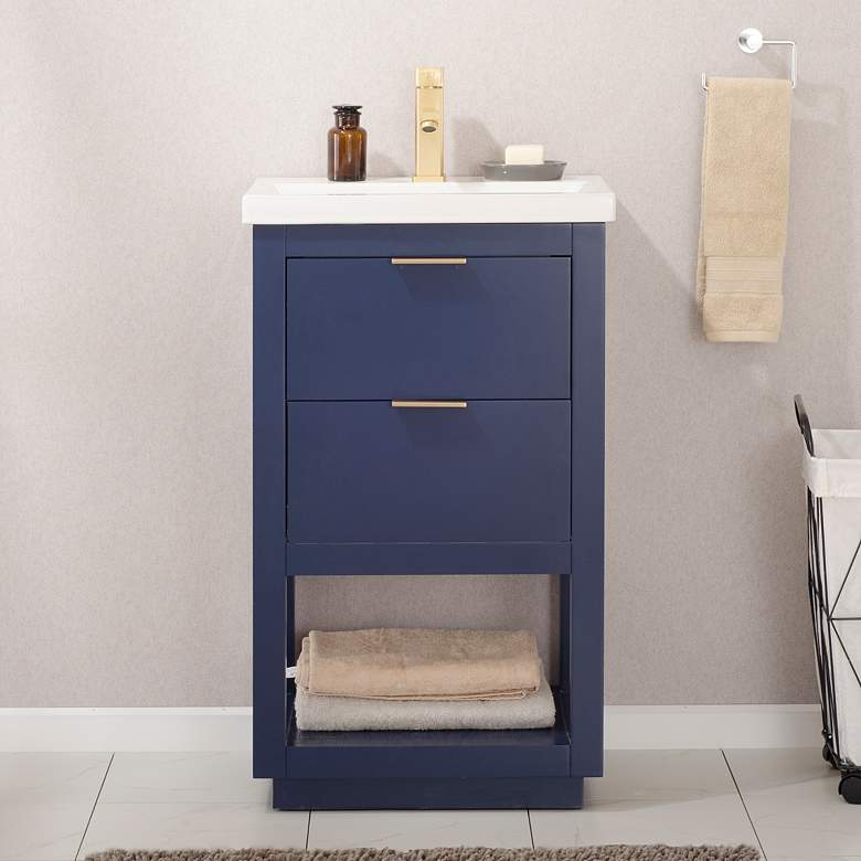 "Klein 20"" Wide 2-Drawer Porcelain Blue Single Sink Vanity ..."