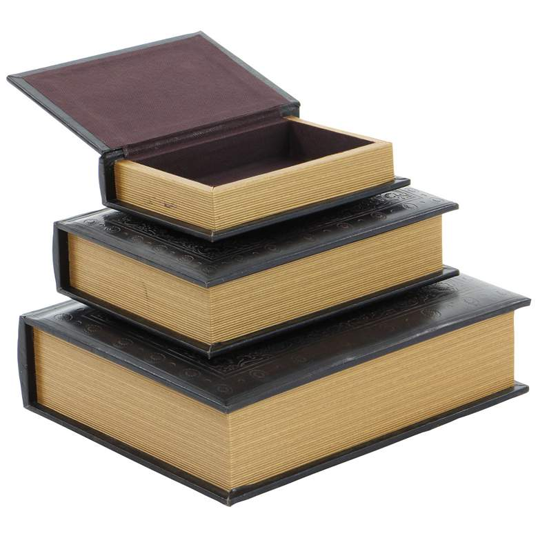 Walnut Brown and Maroon Wood Leather Book Boxes - Set of 3 more views