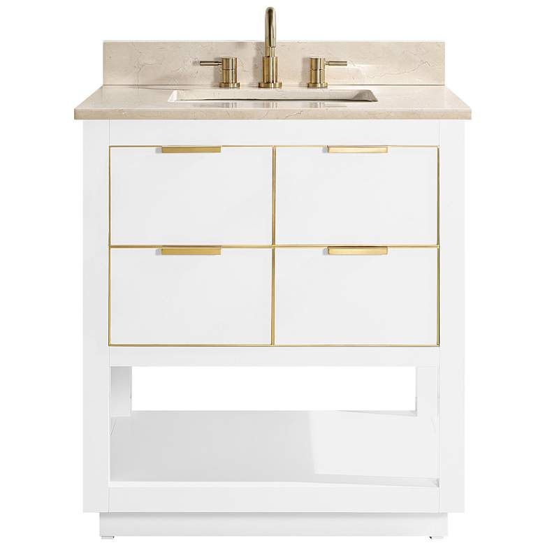 "Allie 31""W White with Crema Marfil Marble Single Sink Vanity more views"