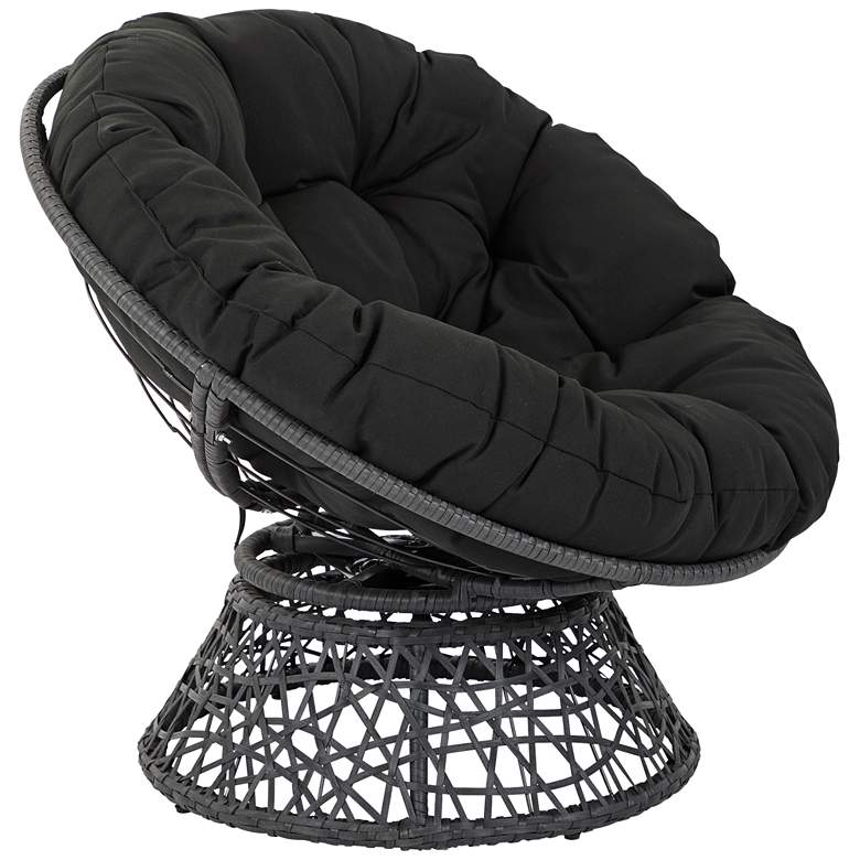 Papasan Black Wicker Swivel Tufted Occasional Chair more views