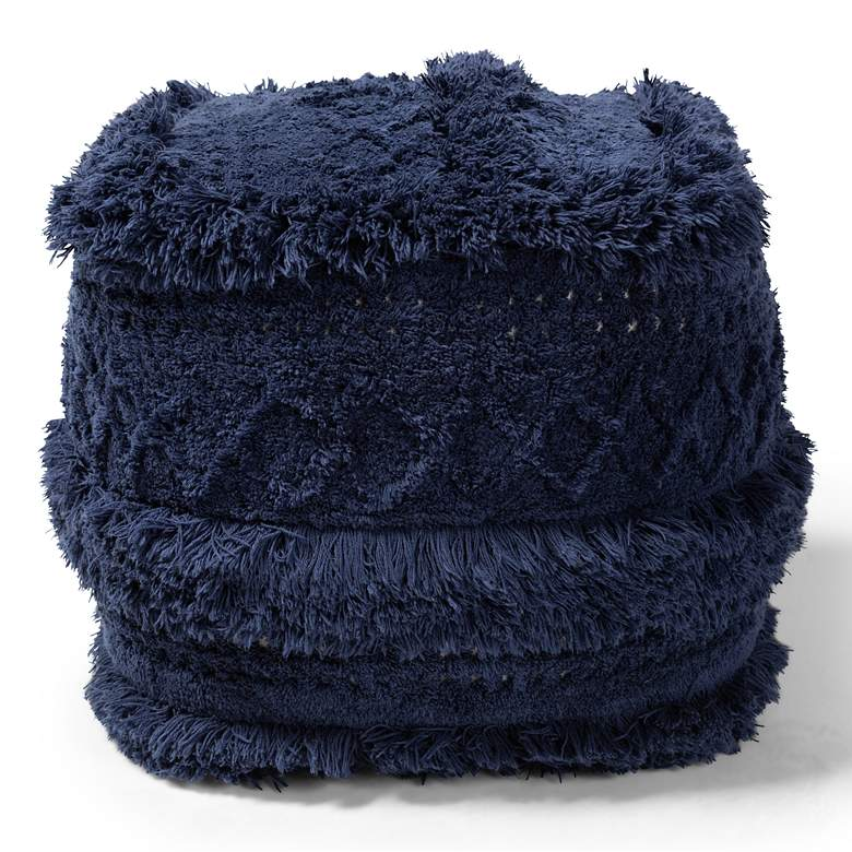 Baxton Studio Curlew Navy Moroccan Inspired Pouf Ottoman more views