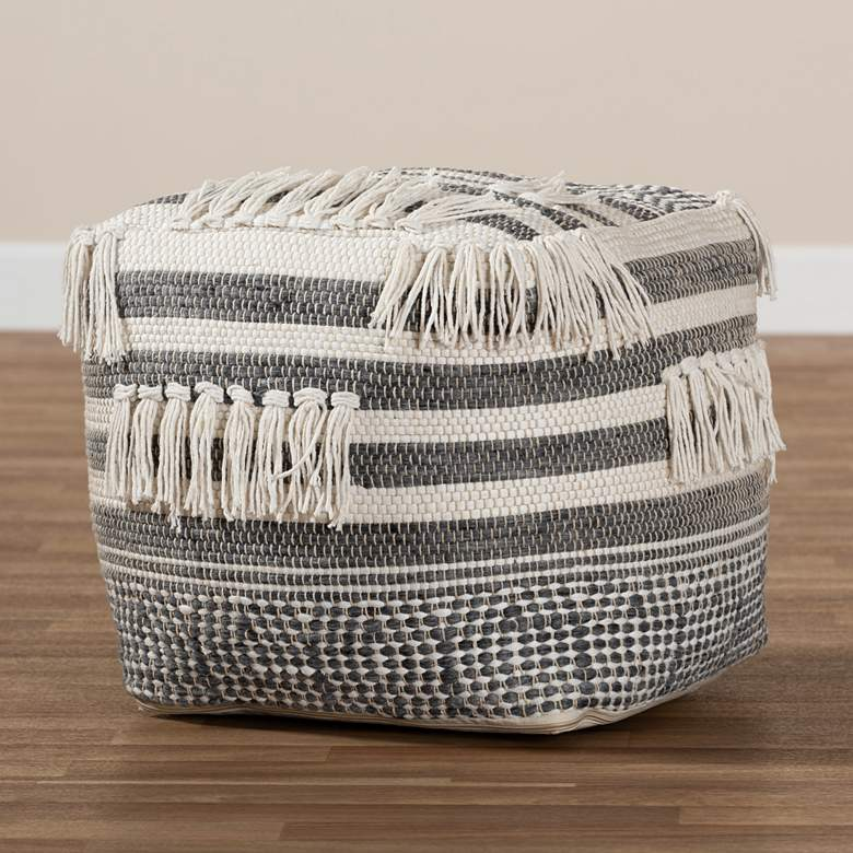 Kirby Gray and Ivory Moroccan Inspired Pouf Ottoman more views