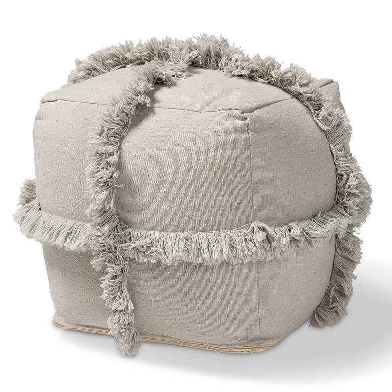 Baxton Studio Alfro Gray Moroccan Inspired Pouf Ottoman more views