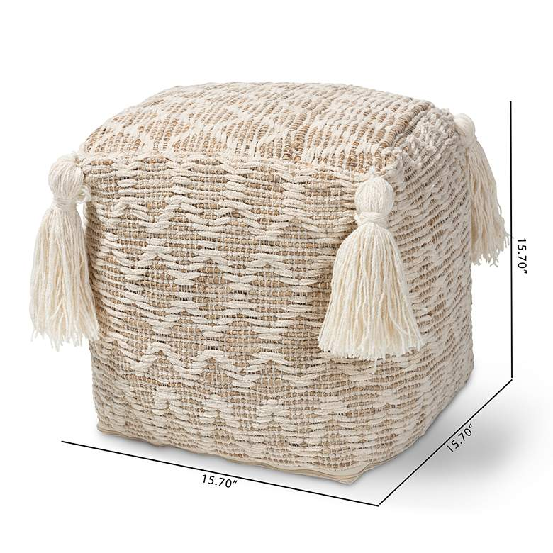 Noland Natural and Ivory Moroccan Inspired Pouf Ottoman more views