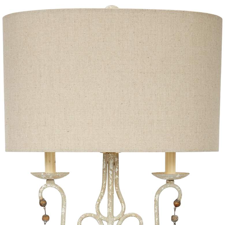 Wesley Distressed White and Brown Buffet Table Lamp more views