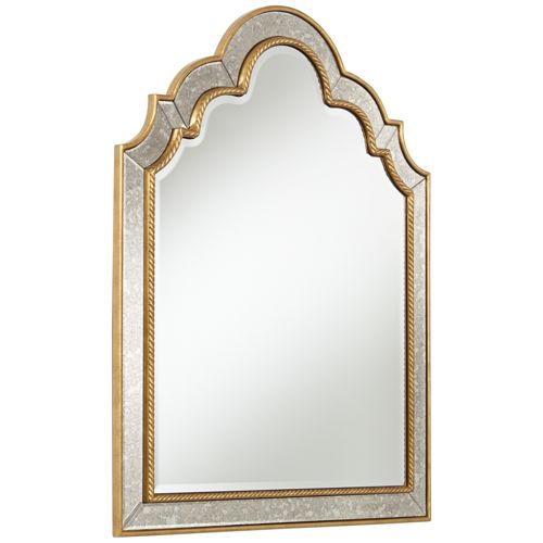 "Barrie 28 1/4"" x 35 1/2"" Gold Antique Arch Wall Mirror"