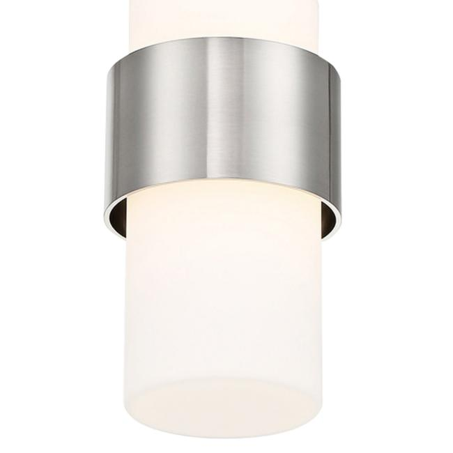 "dweLED Banded 5""W Brushed Nickel and White LED Mini Pendant"