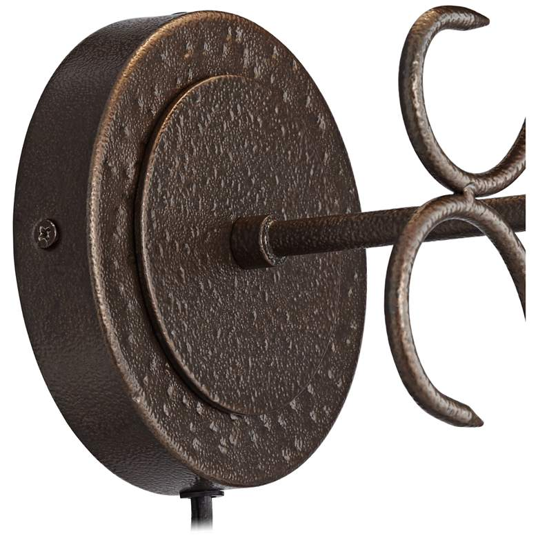 Delaney Dark Bronze Scrolling Pin-up Wall Lamp more views