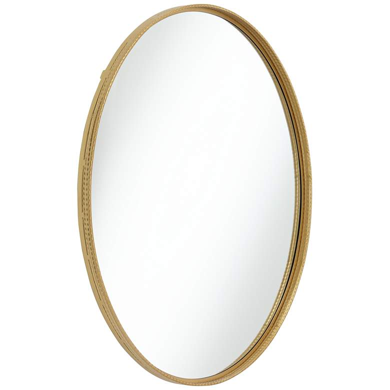 "Cally Gold 31 1/2"" Round Metal Wall Mirror more views"