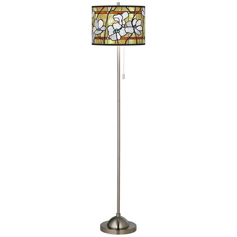 Magnolia Mosaic Brushed Nickel Pull Chain Floor Lamp more views