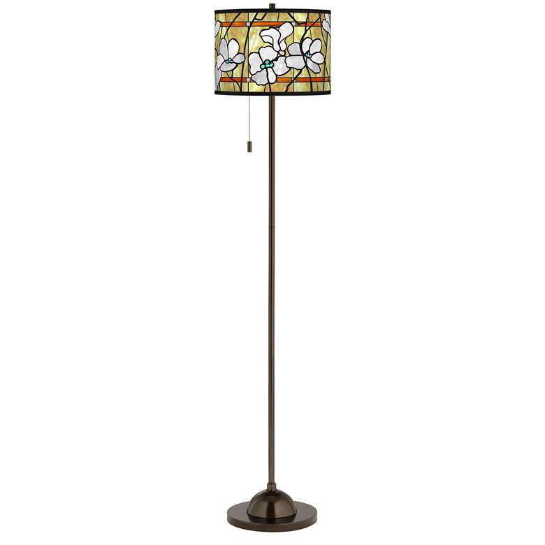 Magnolia Mosaic Giclee Glow Bronze Club Floor Lamp more views