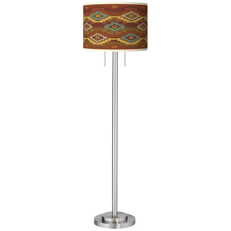 Southwest Sienna Giclee Brushed Nickel Garth Floor Lamp more views