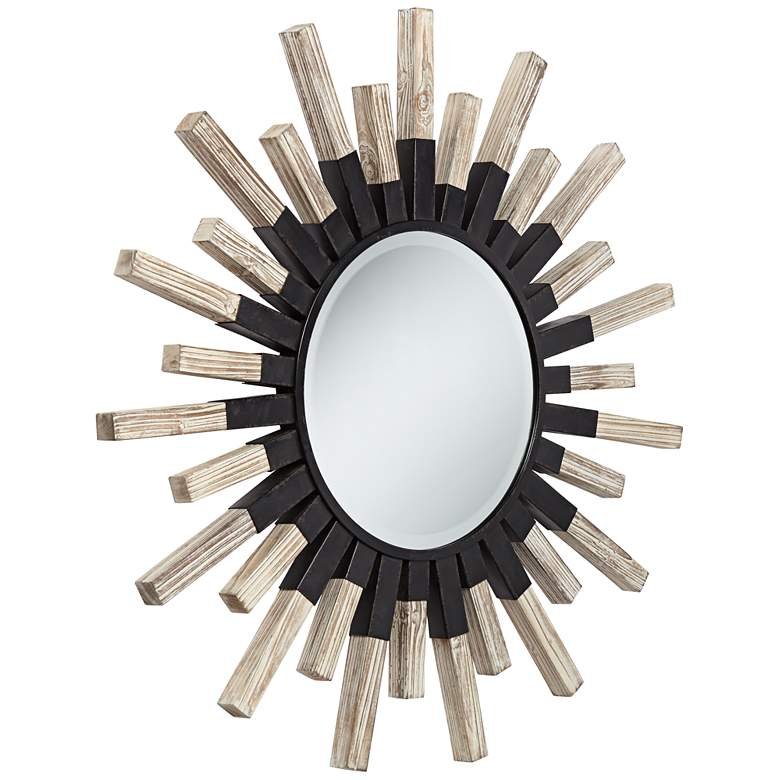 "Mallie 42"" Round Black Metal Whitewash Sunburst Wall Mirror more views"
