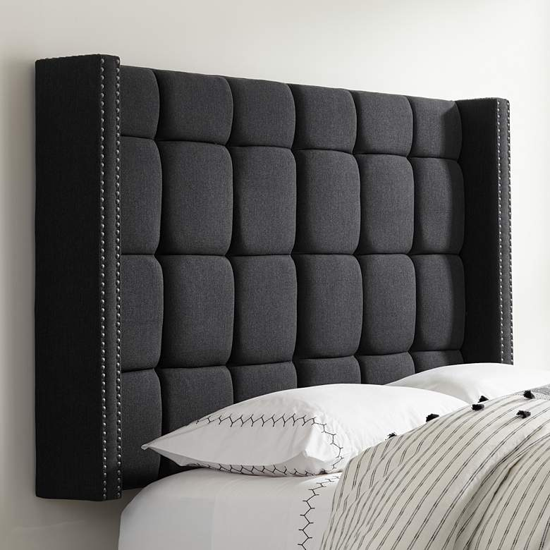 Dylan Charcoal Gray Tufted Queen Headboard more views