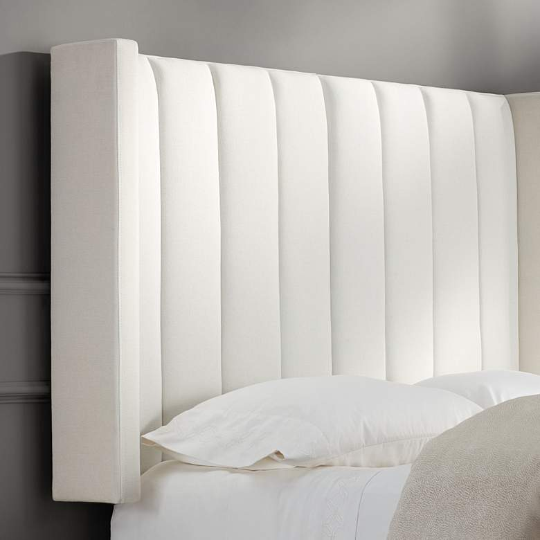 Trent Channel Tufted White Fabric Queen Hanging Headboard more views