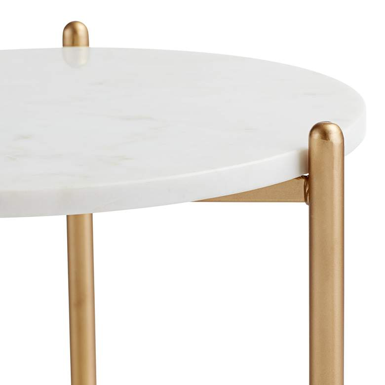 "Jupitor 28 1/2"" HIgh White Marble Accent Table more views"