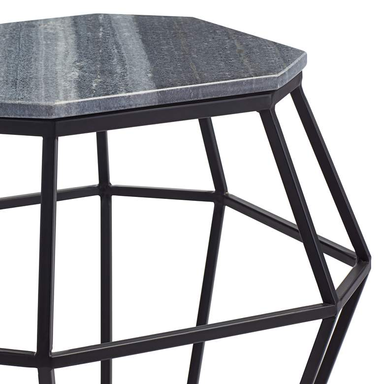 Tocca Octagonal Black Marble Accent Table more views